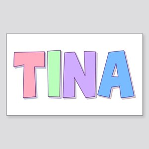 Tina Rainbow Pastel Rectangle Sticker